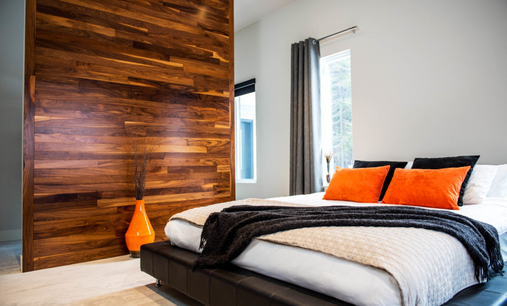 Hardwood feature wall